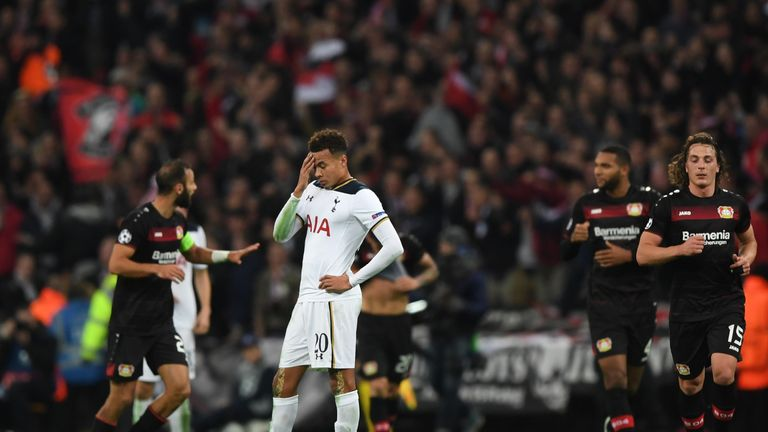 LONDON, ENGLAND - NOVEMBER 02:  Dele Alli of Tottenham Hotspur reacts after Bayer Leverkusen score their first goal during the UEFA Champions League Group