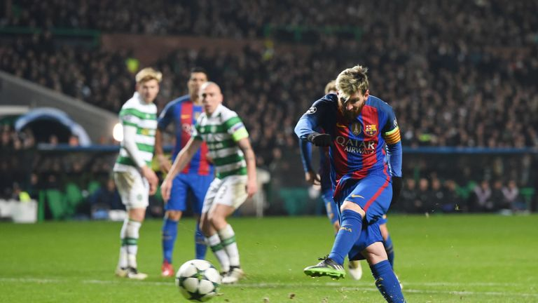 Lionel Messi with his second of the match from the penalty spot