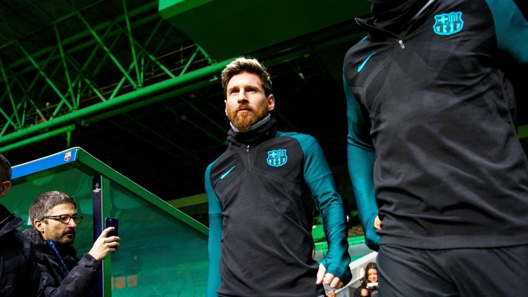 Barcelona's Lionel Messi steps out at Celtic Park for a training session