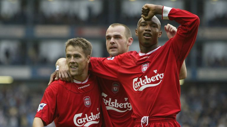 Michael Owen of Liverpool celebrates scoring his 3rd goal with Danny Murphy and El-Hadji Diouf