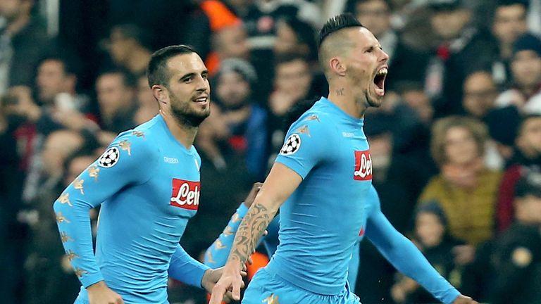 Napoli's Marek Hamsik (R) celebrates after scoring against Besiktas