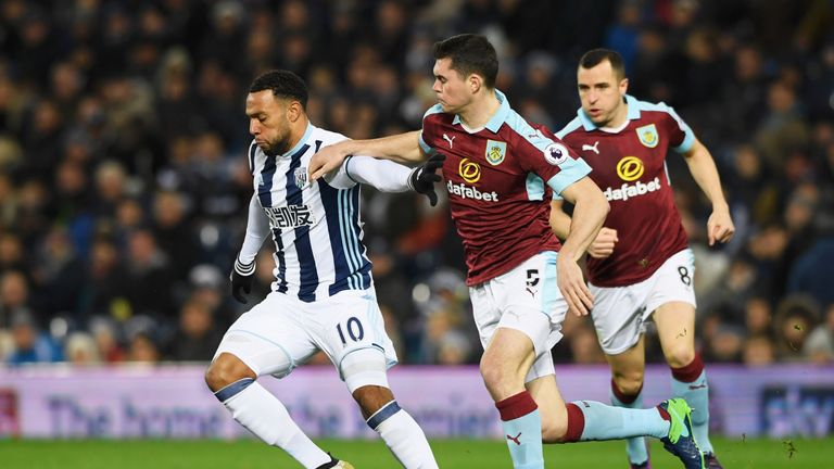 WEST BROMWICH, ENGLAND - NOVEMBER 21:  Matt Phillips of West Bromwich Albion holds off Michael Keane of Burnley during the Premier League match between Wes