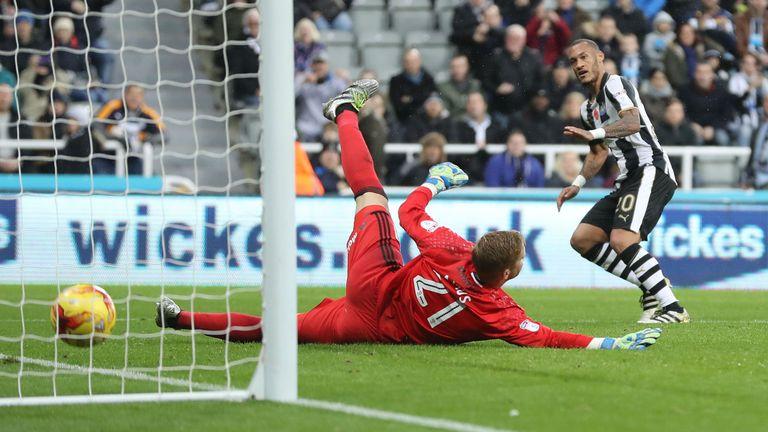 Yoan Gouffran scores Newcastle's second goal