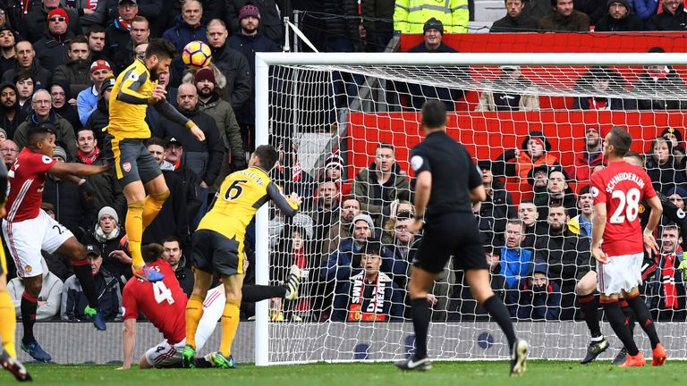 Olivier Giroud heads past David De Gea to equalise for Arsenal