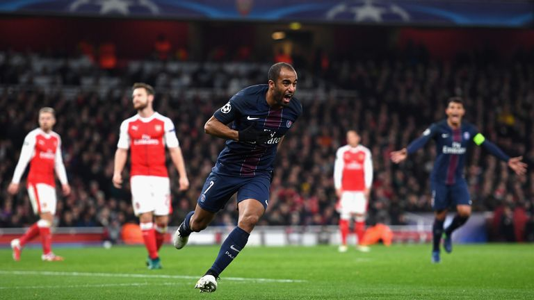 Lucas Moura against Arsenal in the Champions League last season