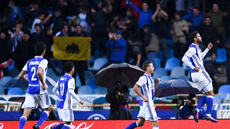 Willian Jose celebrates after netting Real Sociedad's second goal