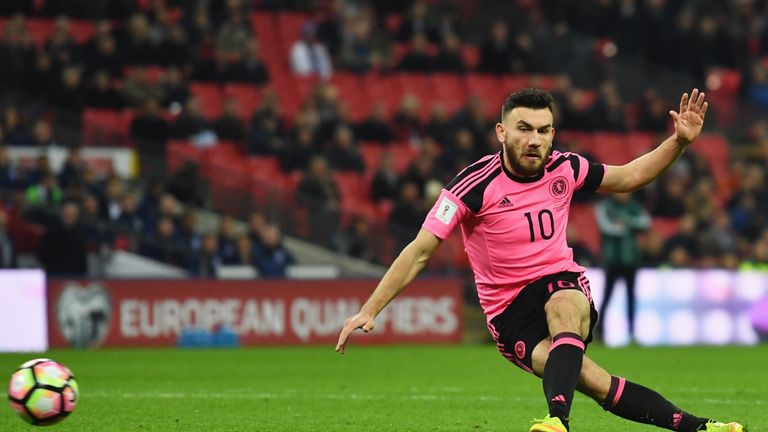 LONDON, ENGLAND - NOVEMBER 11:  Robert Snodgrass of Scotland misses a chance during the FIFA 2018 World Cup qualifying match between England and Scotland a