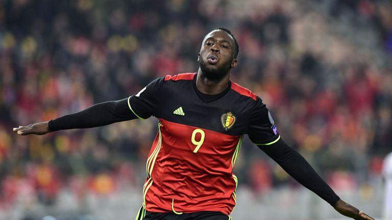 Belgium's Romelu Lukaku celebrates after scoring