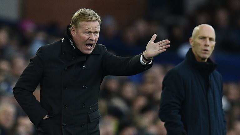 Everton's Dutch manager Ronald Koeman gestures from the touchline