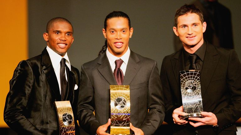 Ronaldinho pipped Samuel Eto'o and Frank Lampard to the 2005 FIFA World Player of the Year award