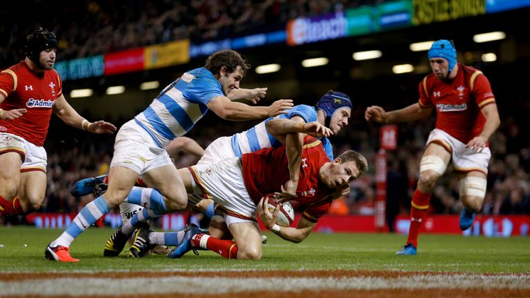 Liam Williams crosses for Wales' first try against Argentina