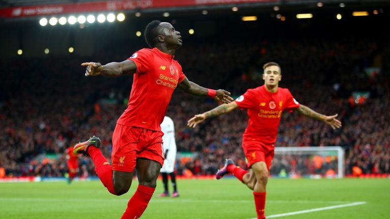Sadio Mane celebrates after opening the scoring for Liverpool against Watford