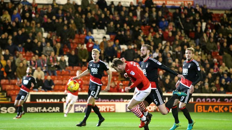Barnsley's Sam Winnall scores his side's first goal of the game