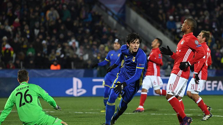 Rostov's Iranian forward Sardar Azmoun celebrates after scoring his team's first goal