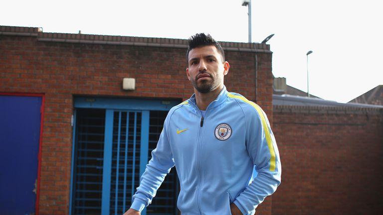 Sergio Aguero arrives at Selhurst Park