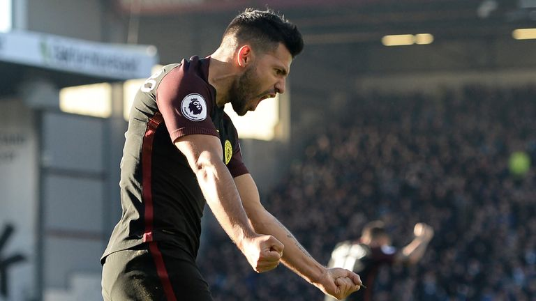 Sergio Aguero celebrates after equalising for Manchester City at Burnley
