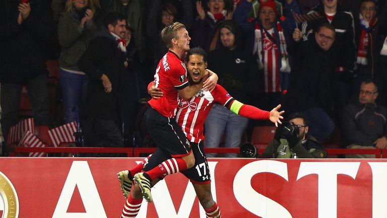 Virgil van Dijk of Southampton celebrates after scoring against Inter