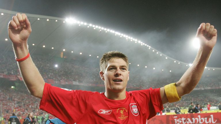 ISTANBUL, Turkey:  Liverpool's England's captain and midfielder Steven Gerrard greets supporters during the honour lap at the end of the UEFA Champions lea