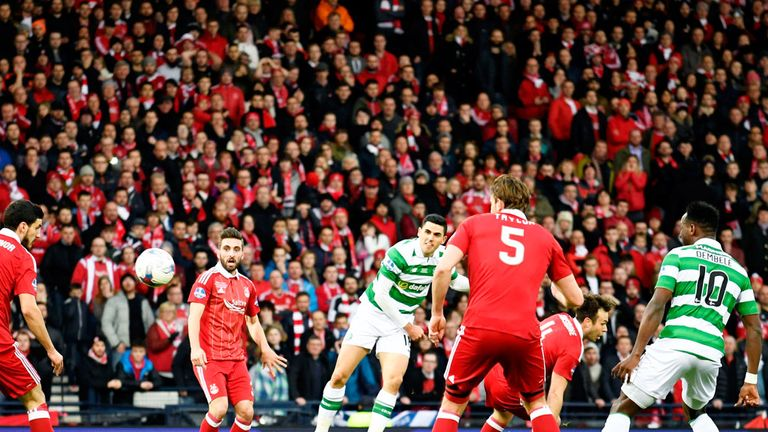 Celtic midfielder Tom Rogic scores the opening goal in the League Cup final at Hampden