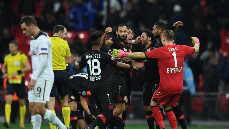 Bayer Leverkusen players celebrate victory over Spurs
