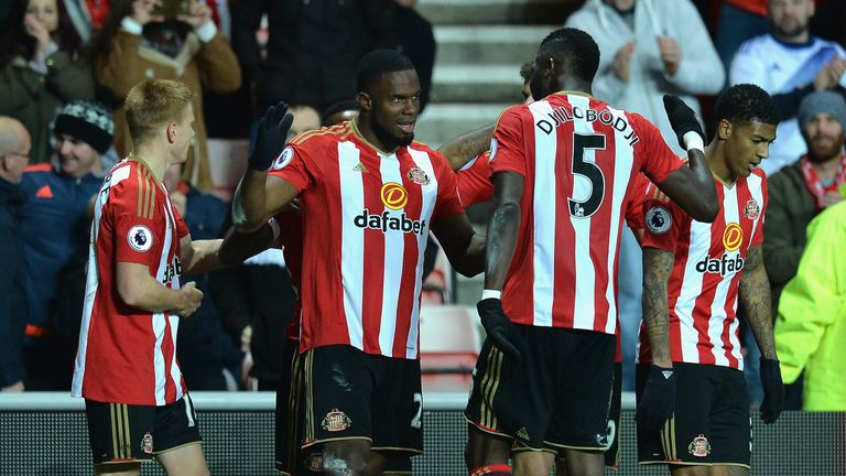 Sunderland striker Victor Anichebe celebrates scoring his second goal against Hull City
