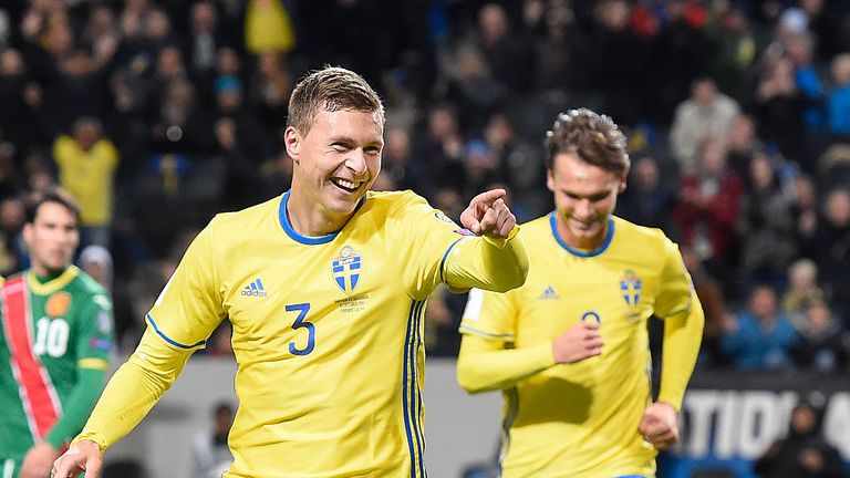 Sweden's defender Victor Nilsson Lindelof celebrates after scoring during the WC 2018 football qualification match between Sweden and Bulgaria in Solna.