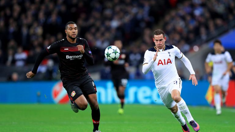 Bayer Leverkusen's Jonathan Tah (left) and Tottenham Hotspur's Vincent Janssen (right) in action during the UEFA Champions League match at Wembley Stadium,