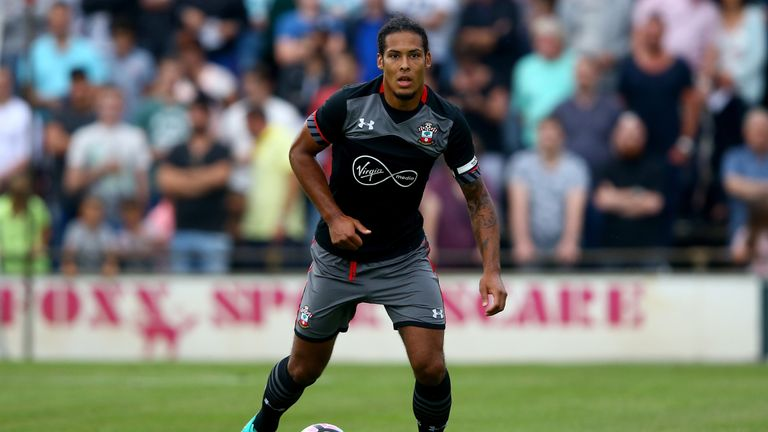 Virgil van Dijk of Southampton runs with the ball  during the friendly match between Twente Enschede and FC Southampton
