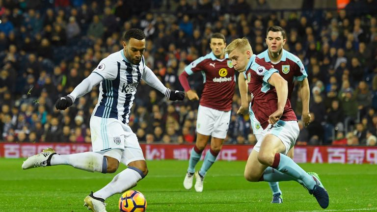 Matt Phillips puts West Brom 1-0 up against Burnley in the Premier League