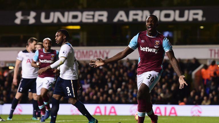 Michail Antonio of West Ham celebrates after scoring against Tottenham