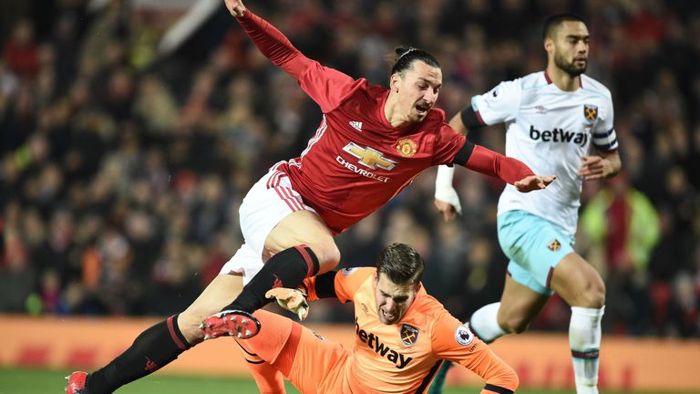 Zlatan Ibrahimovic (left) scored twice during Manchester United's win over West Ham at Old Trafford