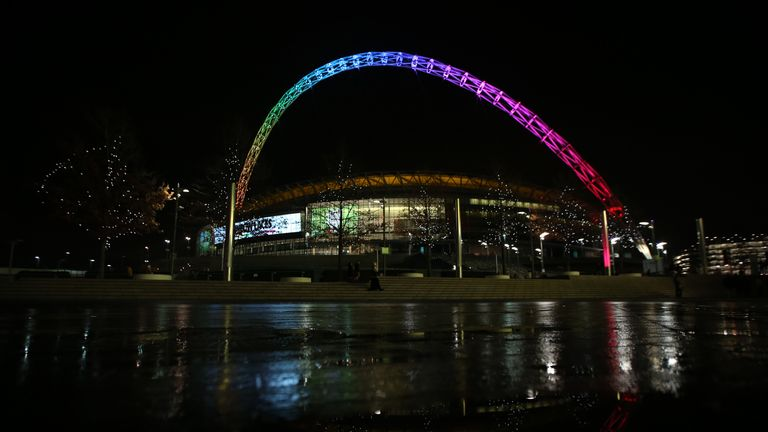 The Wembley arch lit in rainbow colours in support of the Stonewall's Rainbow Laces anti-homophobia campaign.