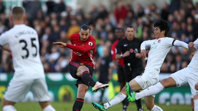 Manchester United's Zlatan Ibrahimovic scores his side's second goal during the Premier League match at the Liberty Stadium, Swansea