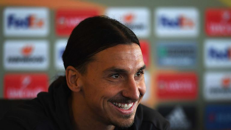 Zlatan Ibrahimovic speaks during a Manchester United press conference on the eve of their UEFA Europa League match against Feyenoord