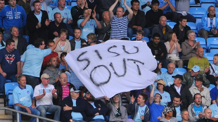 Coventry City fans protest against owners SISU during the Football League Championship match at the Ricoh Arena, Coventry, in September 2011
