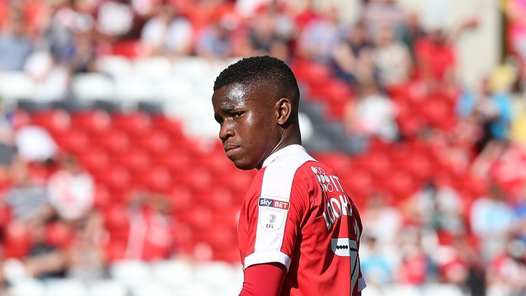Ademola Lookman playing for Charlton Athletic against Northampton Town early in the season
