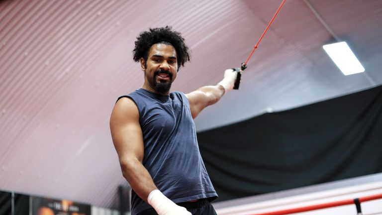 LONDON,UNITED KINGDOM - NOVEMBER 23: Boxer David Haye works out at his gym in Vauxhall on November 23, 2016 in London, England. (Photo by Richard Heathcote