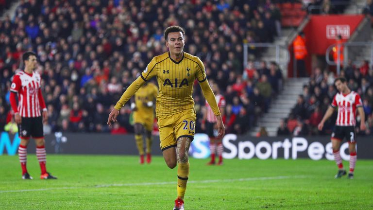 Dele Alli of Tottenham Hotspur celebrates as he scores their first and equalising goal during the Premier League match v Southampton