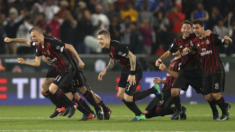 AC Milan celebrate beating Juventus on penalties in Qatar