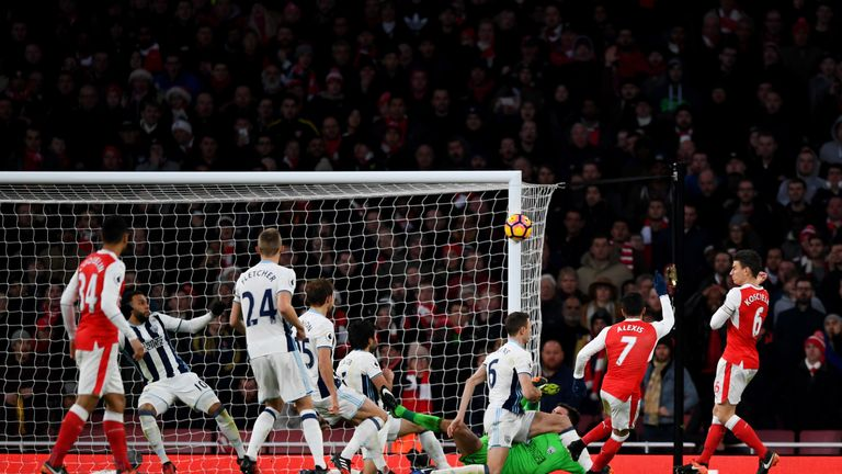 Alexis Sanchez struck the post for Arsenal in the second half