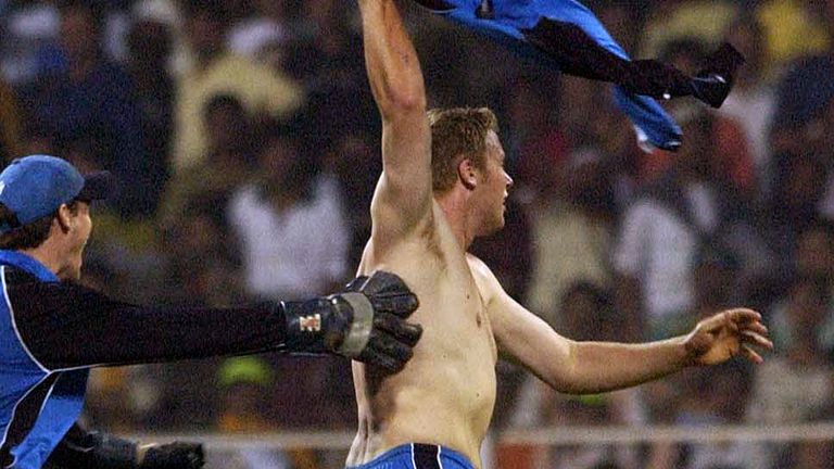 Andrew Flintoff's sets off on his iconic shirtless celebration when England drew the 2002 ODI series in India