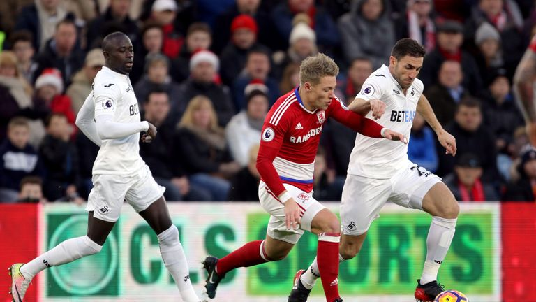 Swansea City's Angel Rangel and Middlesbrough's Viktor Fischer (left) battle for the ball during the Premier League match at the Riverside Stadium