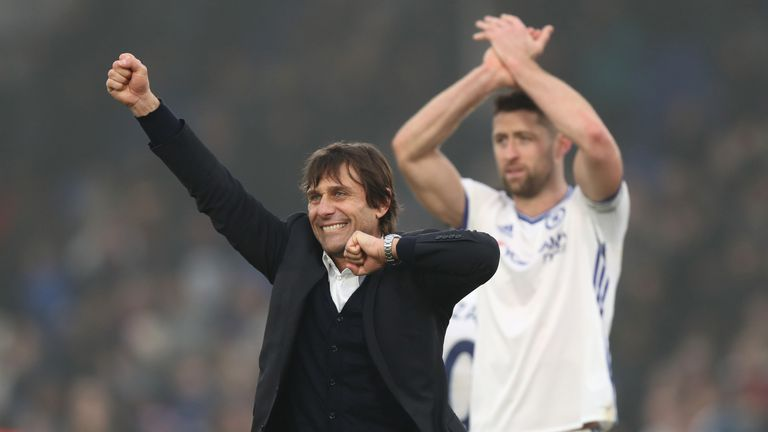 Gary Cahill with Chelsea manager Antonio Conte
