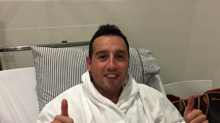 Cazorla pictured after his first operation