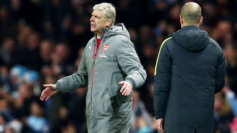 Arsenal boss Arsene Wenger complains about the second goal against Manchester City
