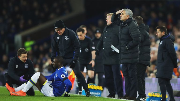 Yannick Bolasie is treated during the draw with Manchester United