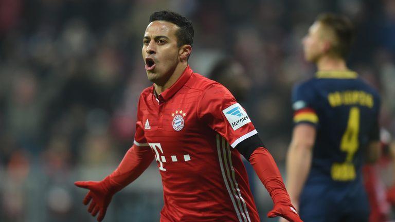 Bayern Munich midfielder Thiago Alcantara celebrates after his first goal against Leipzig