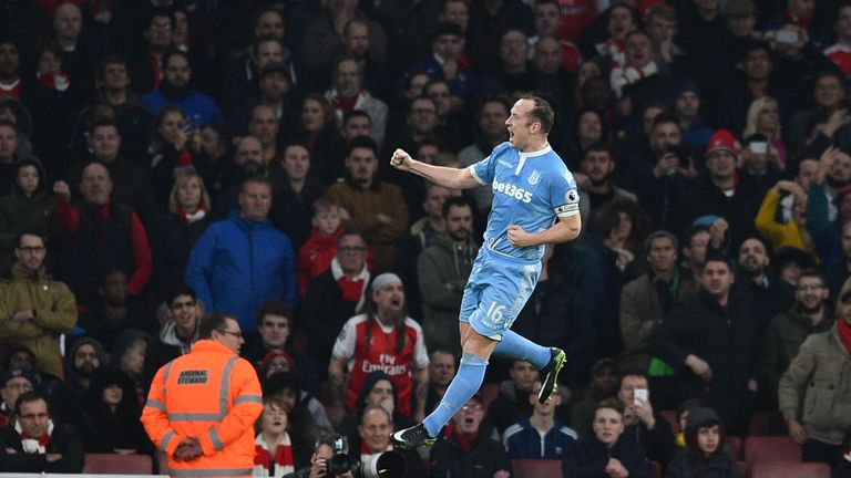 Charlie Adam gives Stoke the lead against Arsenal