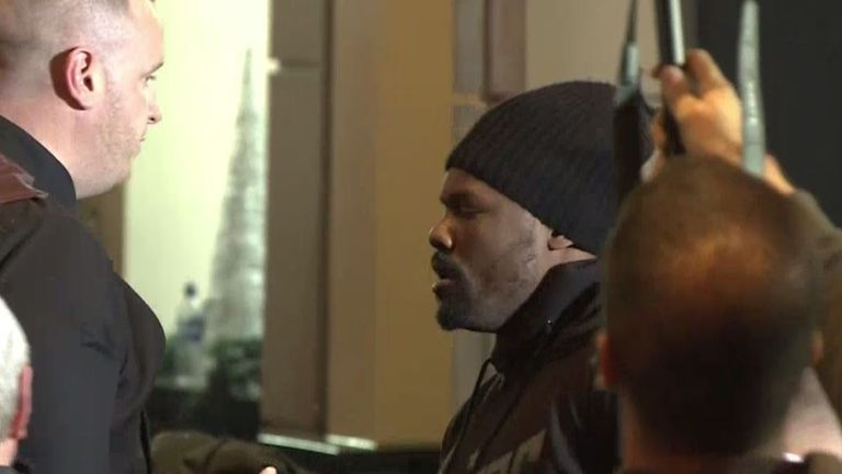Chisora during the press conference chaos