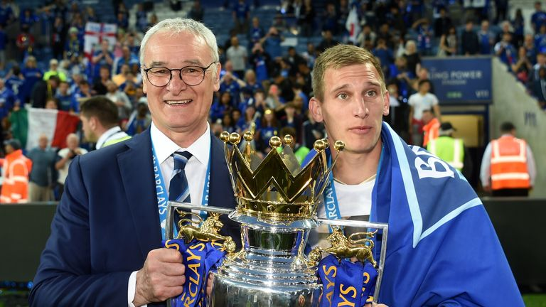 Former Leicester manager Claudio Ranieri (left) with Marc Albrighton